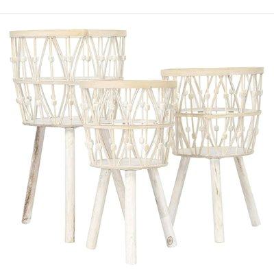 Coop Medium Whitewash Bamboo Wood Basket w/ Legs