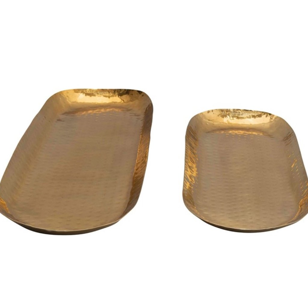 Coop Brass Finish Hammered Stainless Steel Oval TraysSet of 2
