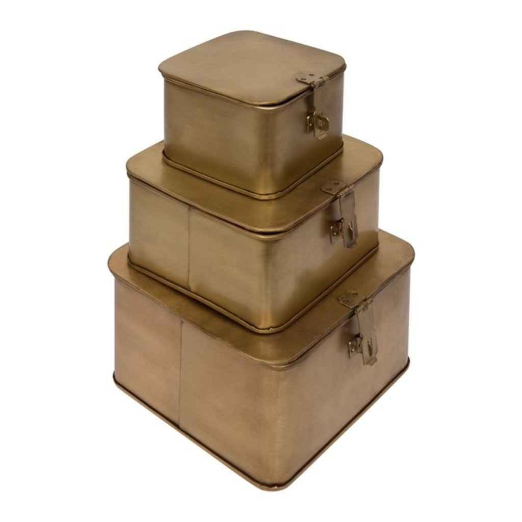Coop Brass Finish Set of 3 Square Decorative Metal Boxes