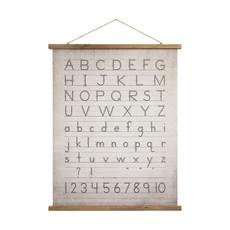 Canvas & Wood Scroll Wall Decor w/ Alphabet & Numbers & Jute Hanger