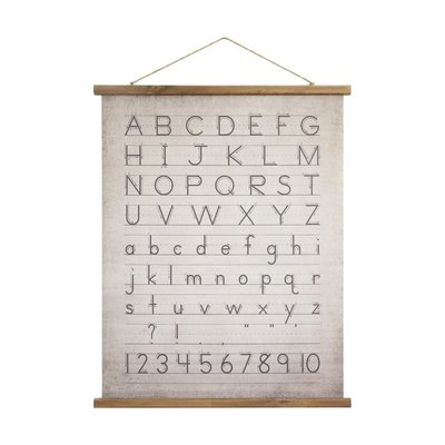 Coop Canvas & Wood Scroll Wall Decor w/ Alphabet & Numbers & Jute Hanger