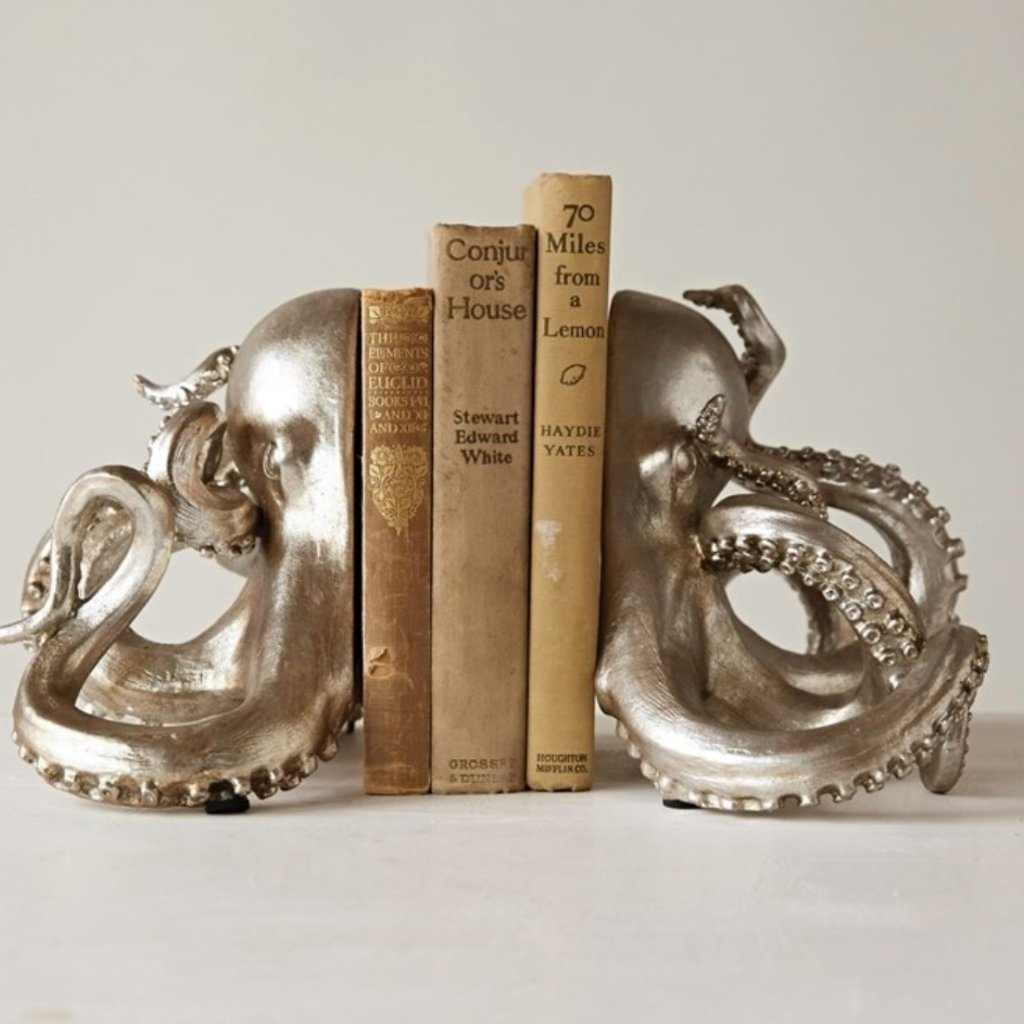 Silver Resin Octopus Bookends Set of 2
