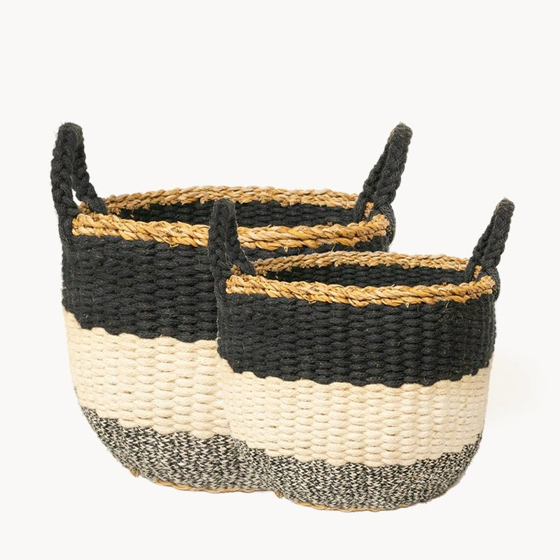 Korissa Ula Stripe Basket - Black (Set of 2)