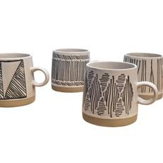 Embossed Stoneware Mug, 4 Styles Sold as Set