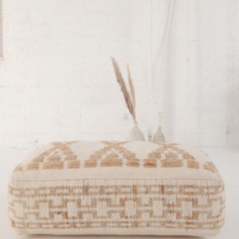 Hand-Woven Cotton & Wool Blend Kilim Pouf