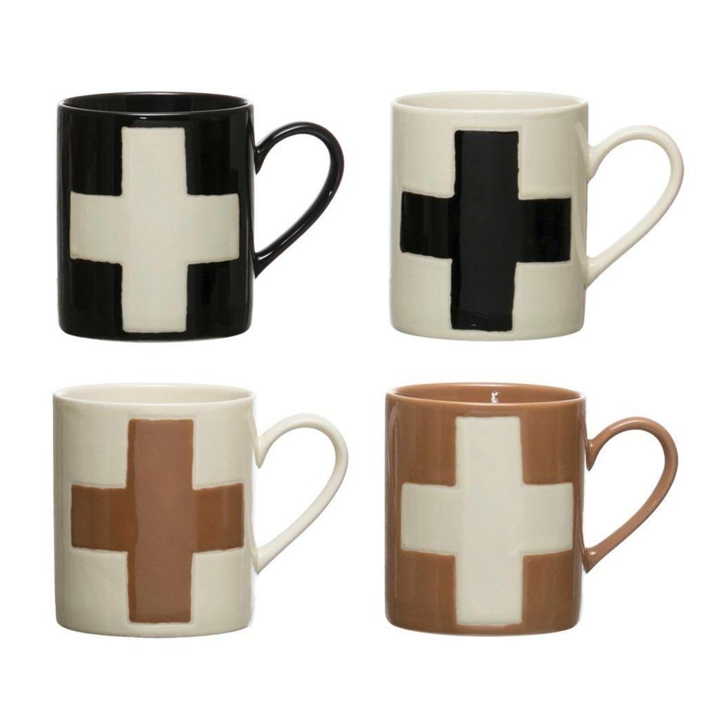 Handmade Stoneware Mug w/ Wax Relief Swiss Cross, Set of 4