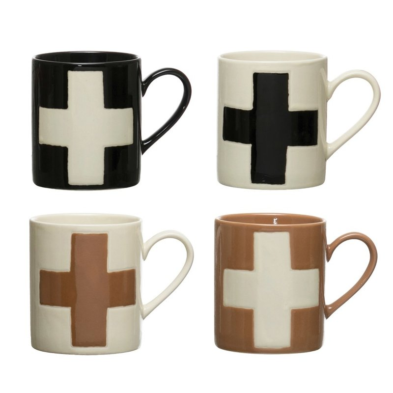 Handmade Stoneware Mug w/ Wax Relief Swiss Cross, Set of 4