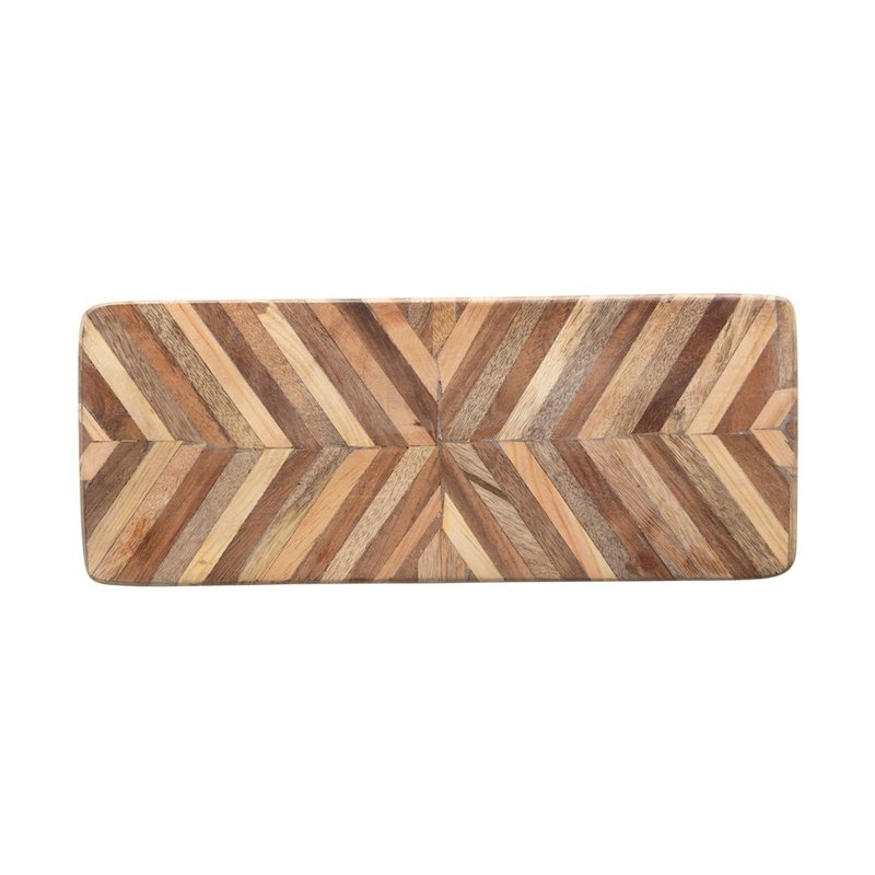 Mango Wood Cheese/Cutting Board w/ Chevron Pattern