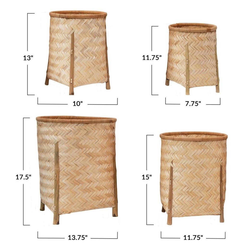 Small Woven Bamboo Basket w/ Legs