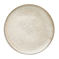"11"" Cream Reactive Glaze Round Stoneware Plates, Set of 4"