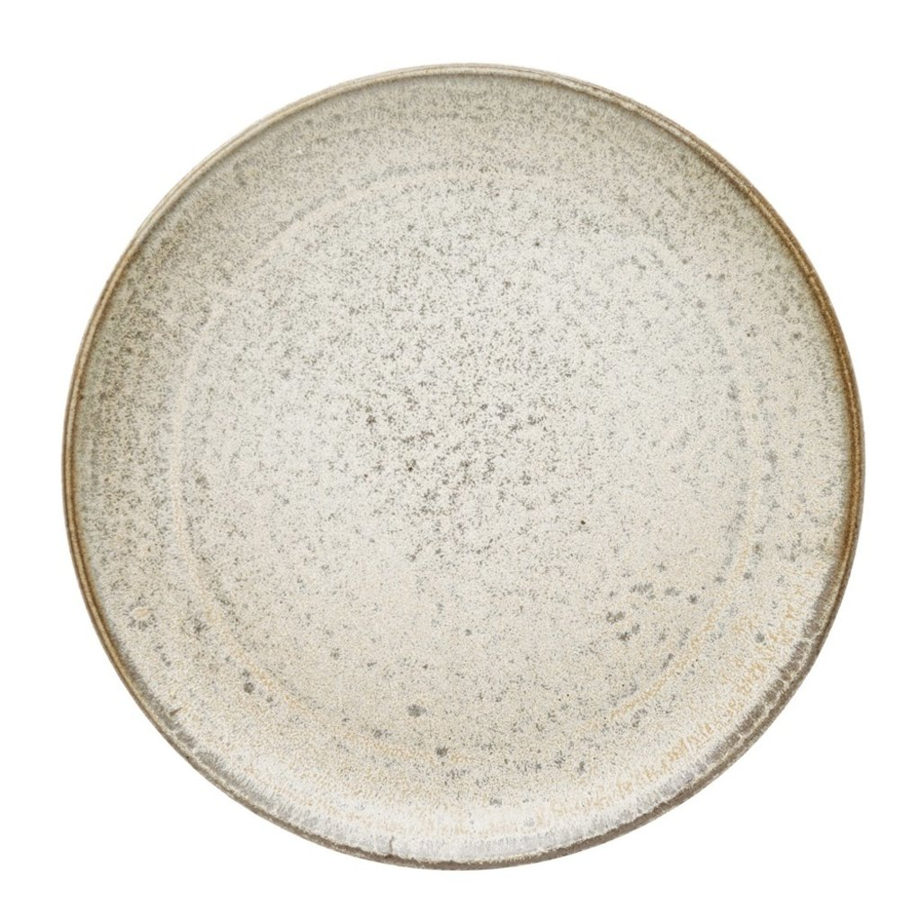"8"" Cream Reactive Glaze Round Stoneware Plates, Set of 4"