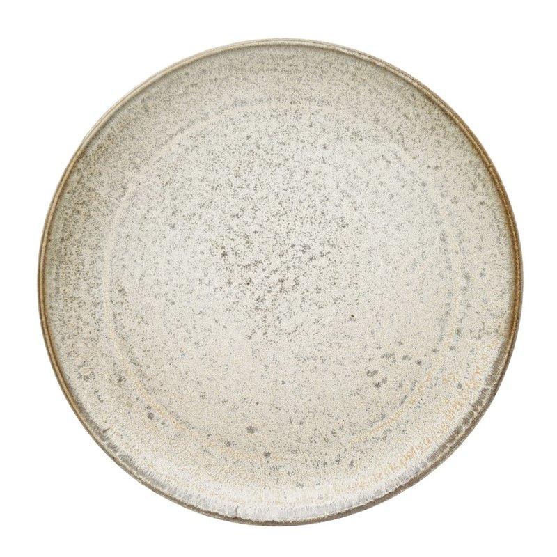 "8"" Cream Reactive Glaze Round Stoneware Plates, Set of 4"