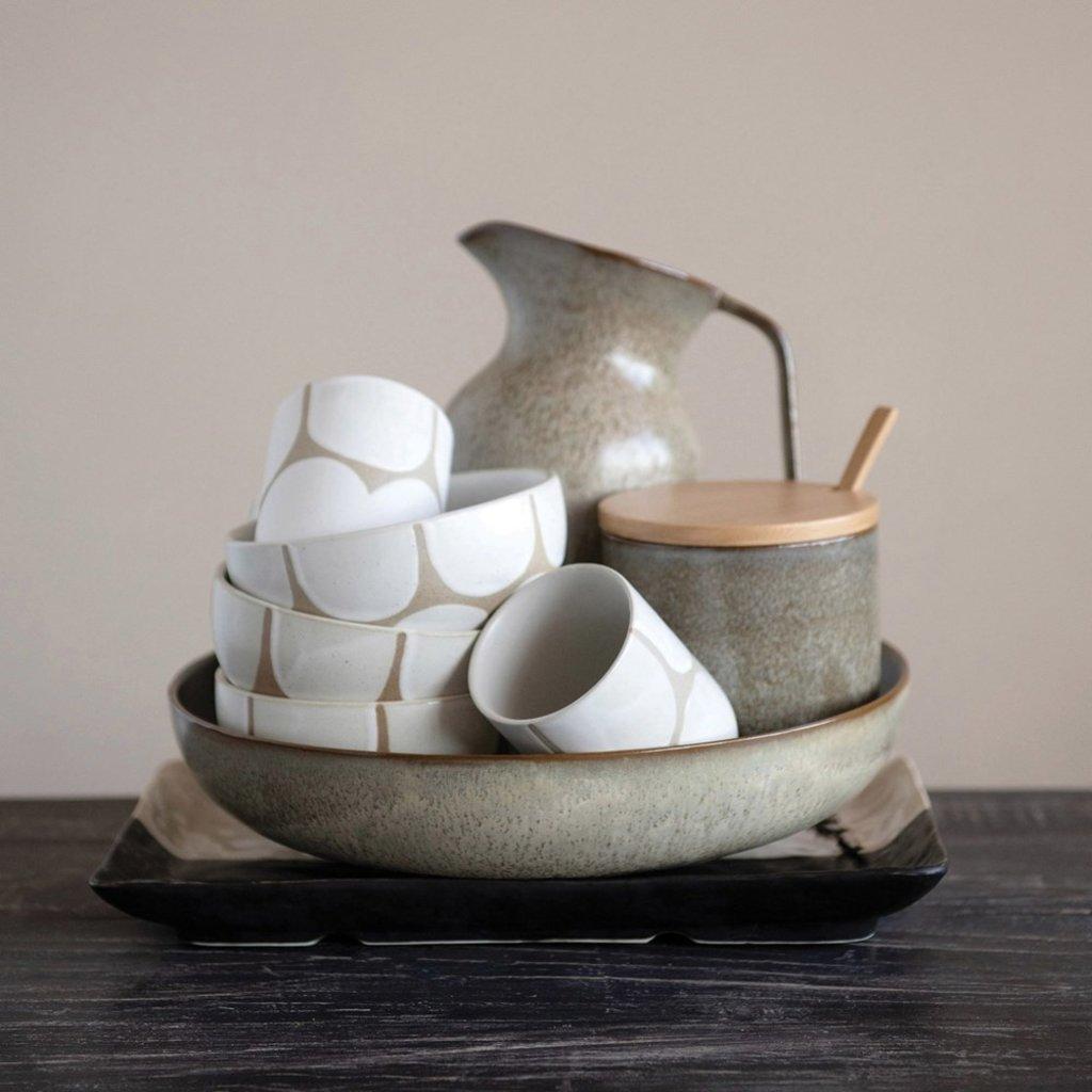 Stoneware Jar w/ Bamboo Lid & Spoon