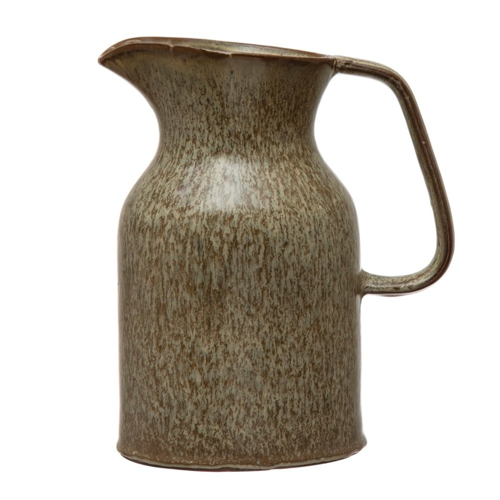 Brown Reactive Glaze Stoneware Pitcher