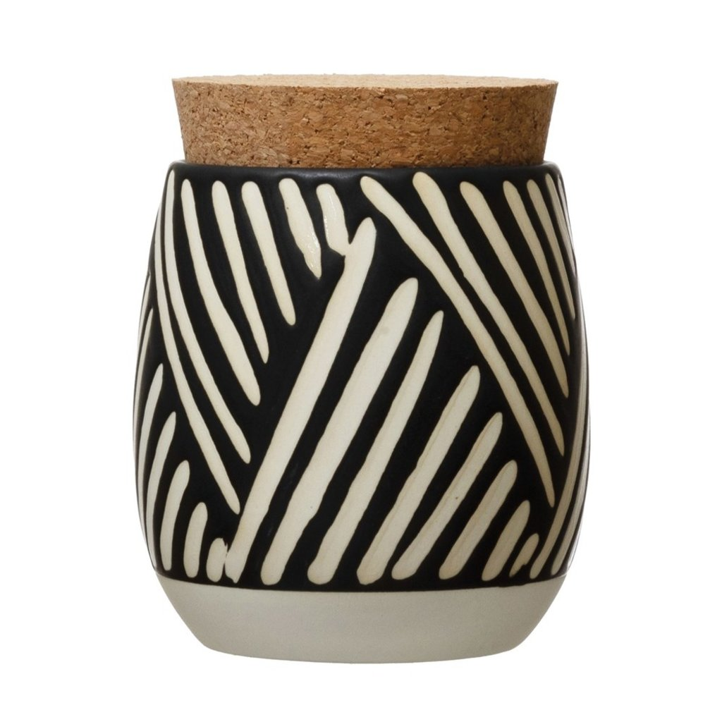 Debossed Stoneware Canister w/ Pattern & Cork Lid