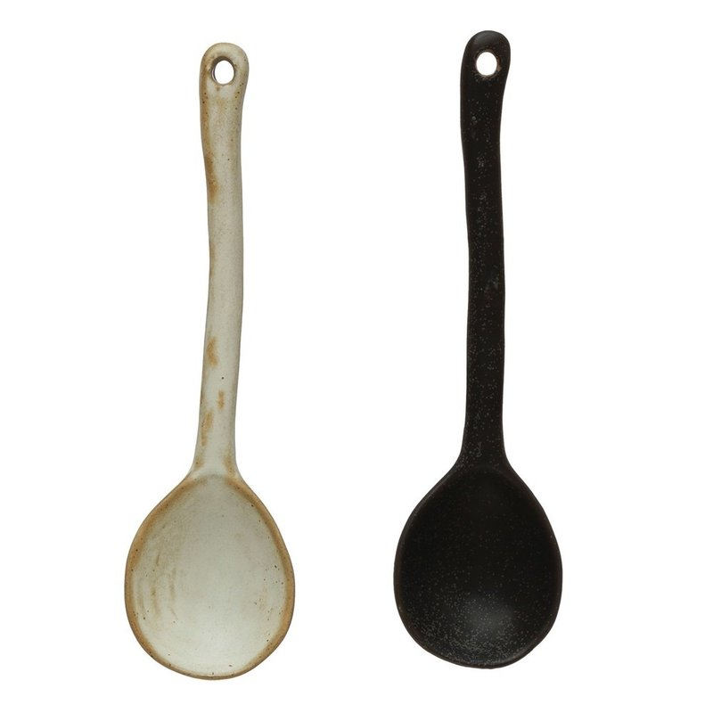 Stoneware Spoon, Reactive Glaze, Set of 2