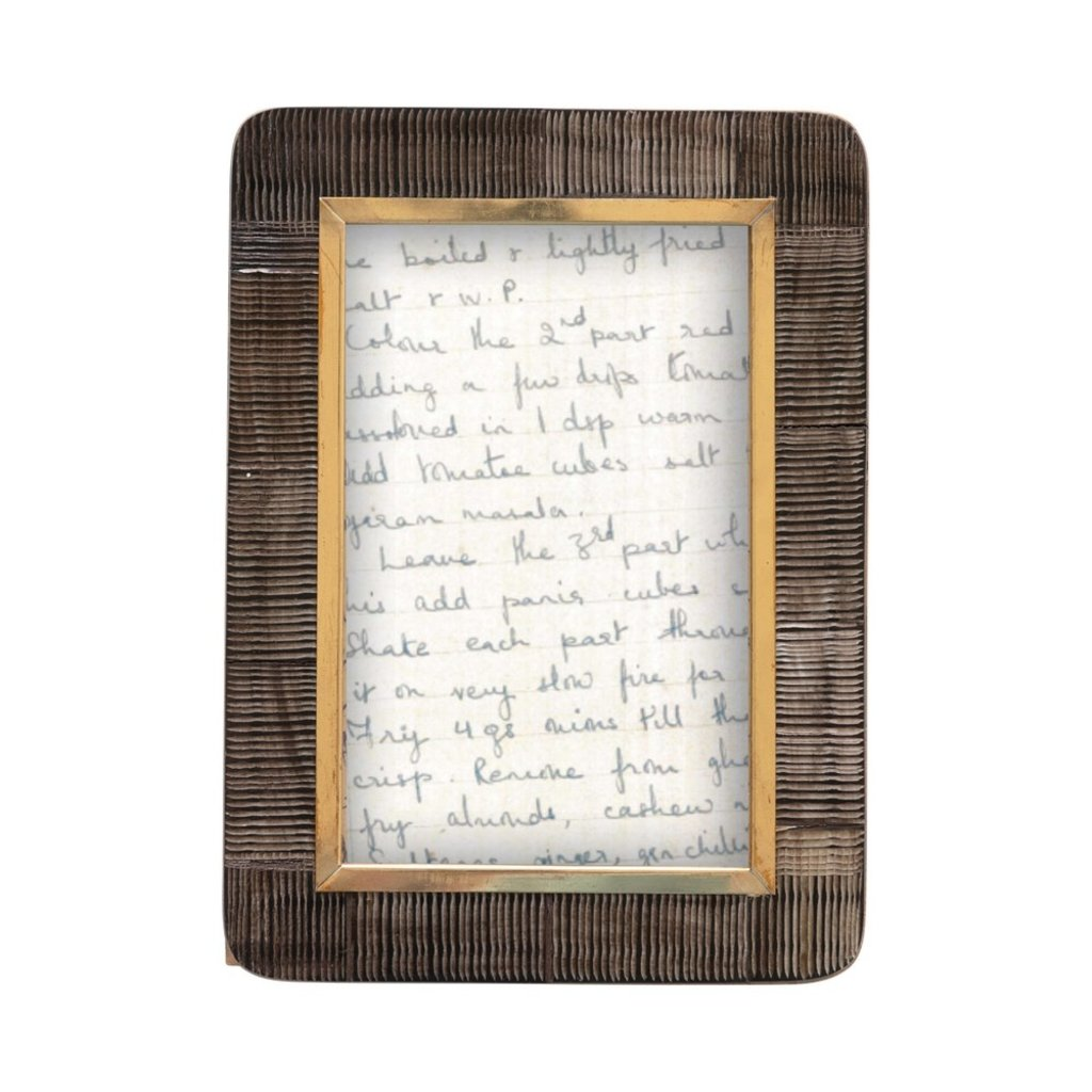 Hand-Carved Horn Photo Frame w/ Brass Border, Black & Natural