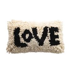 """Woven Wool Shag Lumbar Pillow """"Love"""""""