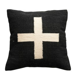 Square Wool Blend Pillow w/ Swiss Cross