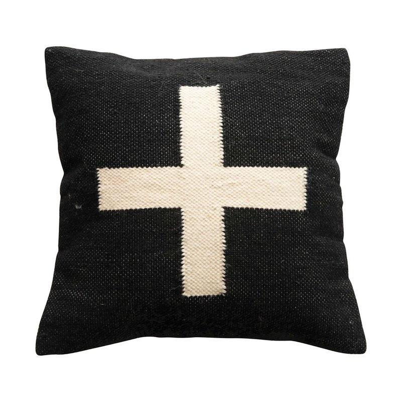 Square Wool Blend Pillow w/ Swiss Cross