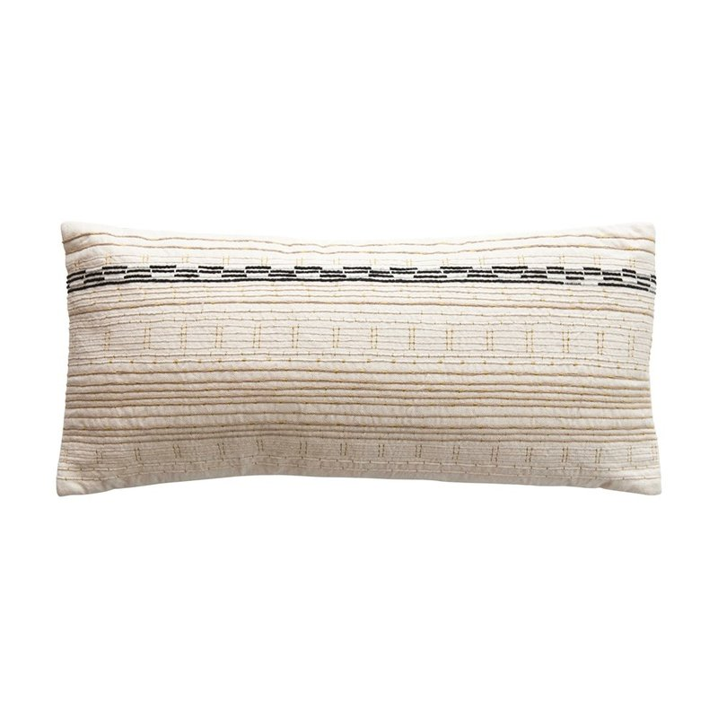 Cotton Lumbar Pillow w/ Embroidery & Gold Metallic Stitching