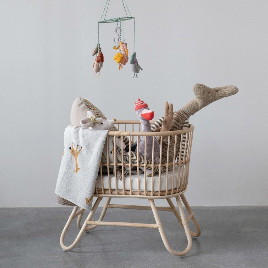 Hand-Woven Rattan Doll Bassinet w/ Cushion