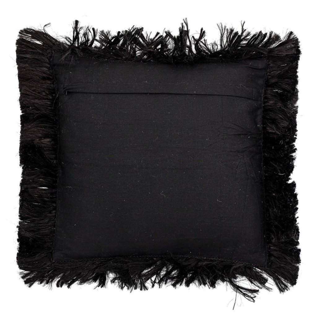 Black Square Jute Pillow with Fringe