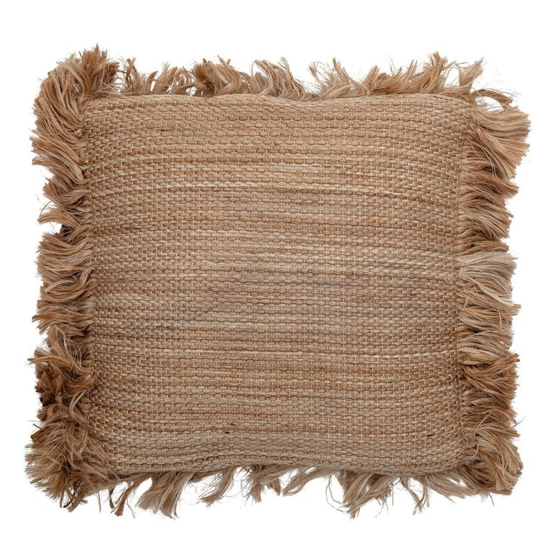 Natural Square Jute Pillow with Fringe