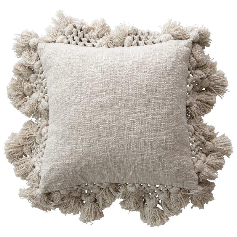 Square Cotton Slub Pillow with Crochet & Tassels