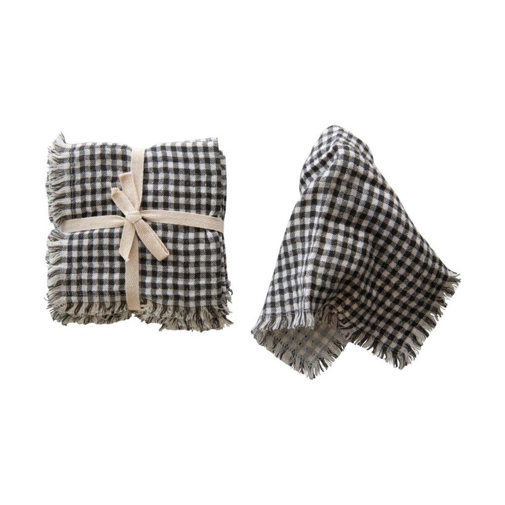 Square Cotton Napkin with Fringe Trim, Black & White Gingham