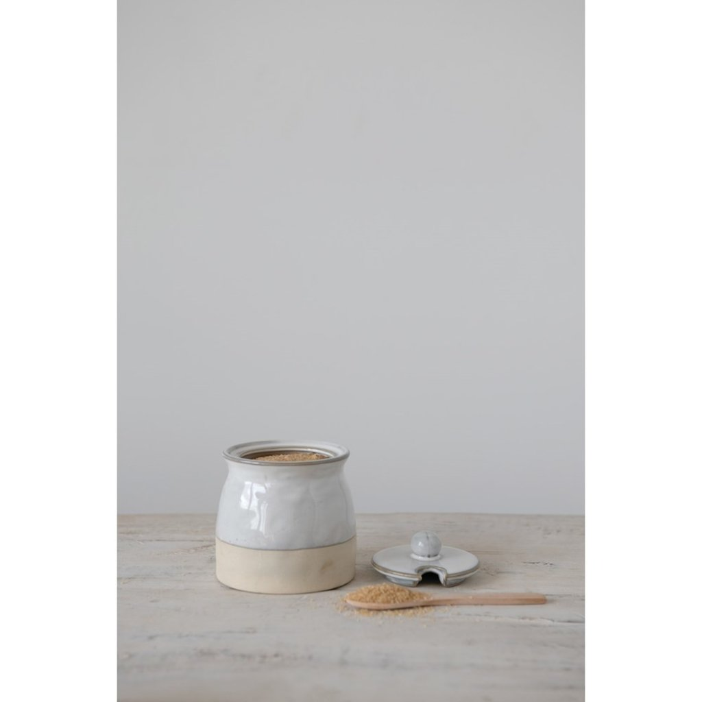 Stoneware Sugar Pot with Lid & Wood Spoon, Reactive Glaze