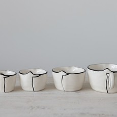 Cup Stoneware Measuring Cups, White w/ Black Rim, Set of 4
