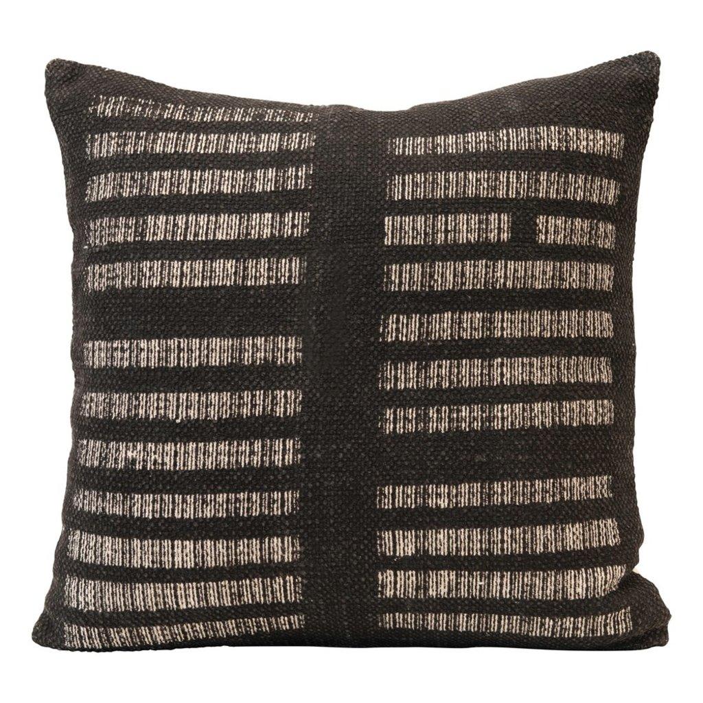 White & Black Square Woven Cotton Pillow