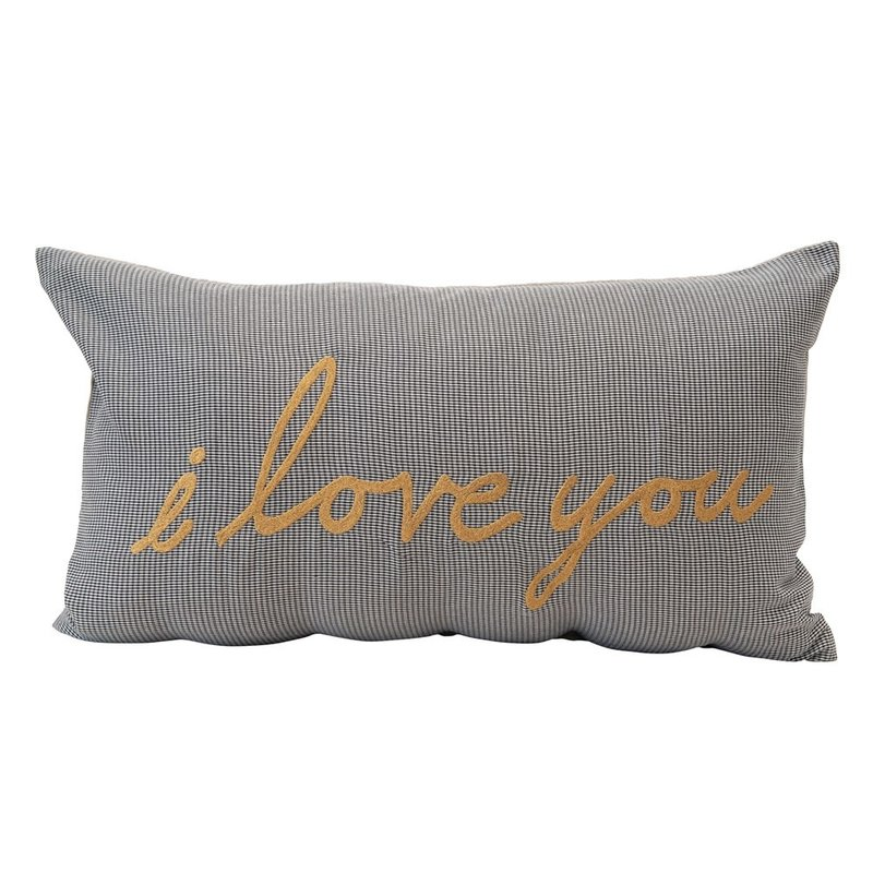 """Woven Cotton Houndstooth Lumbar Pillow w/ Metallic Embroidery """"I Love You"""""""