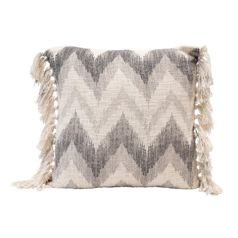 Square Stonewashed Cotton Slub Pillow w/ Chevron Print & Tassels