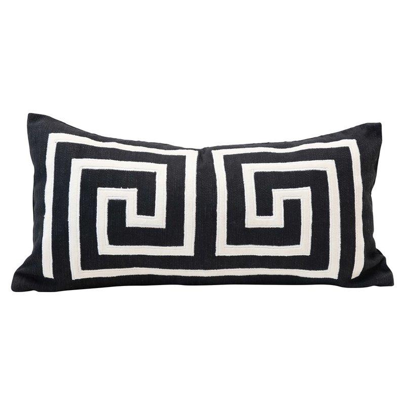 Woven Cotton Lumbar Pillow w/ Appliqued Design