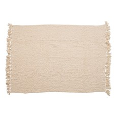 Cotton Blend Boucle Throw w/ Fringe