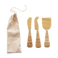 Stainless Steel Cheese Knives w/ Rattan Wrapped Handles