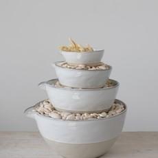 Stoneware Batter Bowls White Reactive Glaze Set of 4
