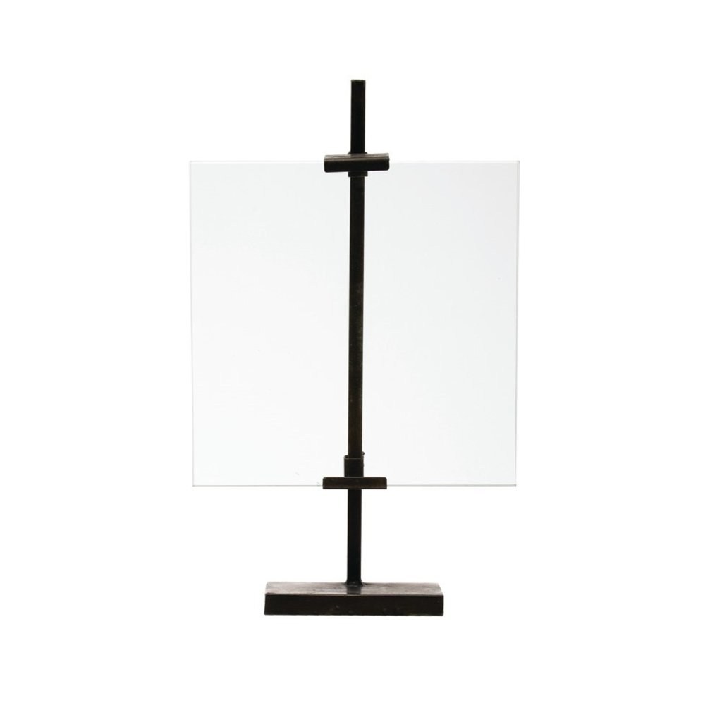 Metal & Glass Floating Photo Frame with Metal Stand & Adjustable Clamps