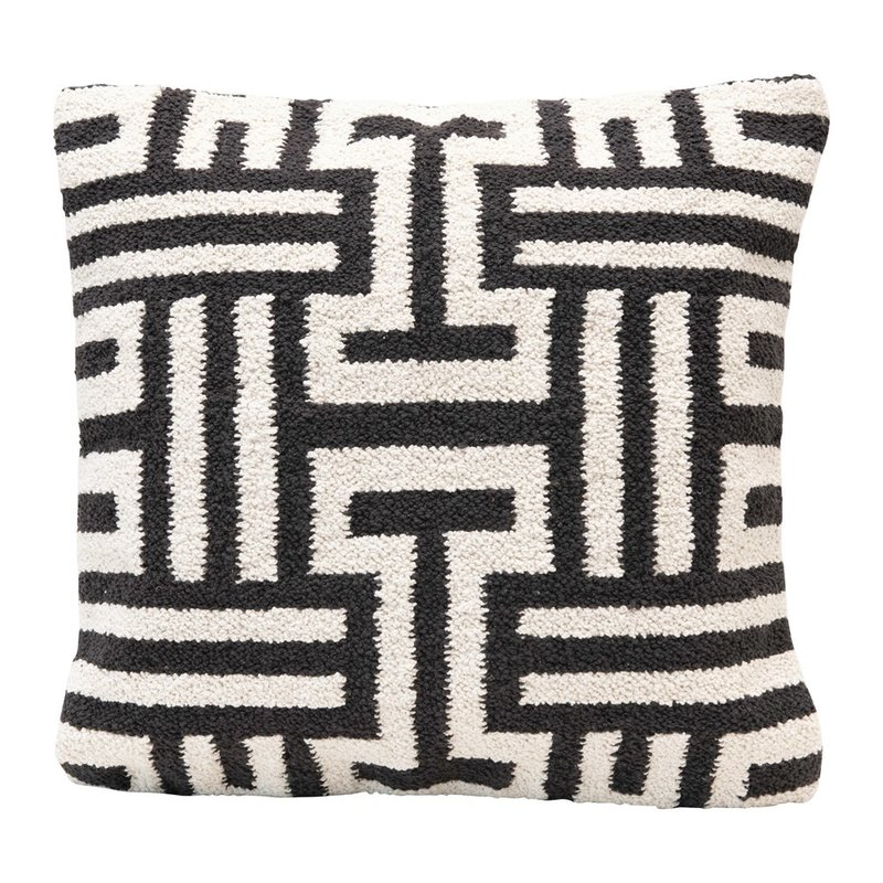 Square Woven Cotton Pillow w/ Abstract Design