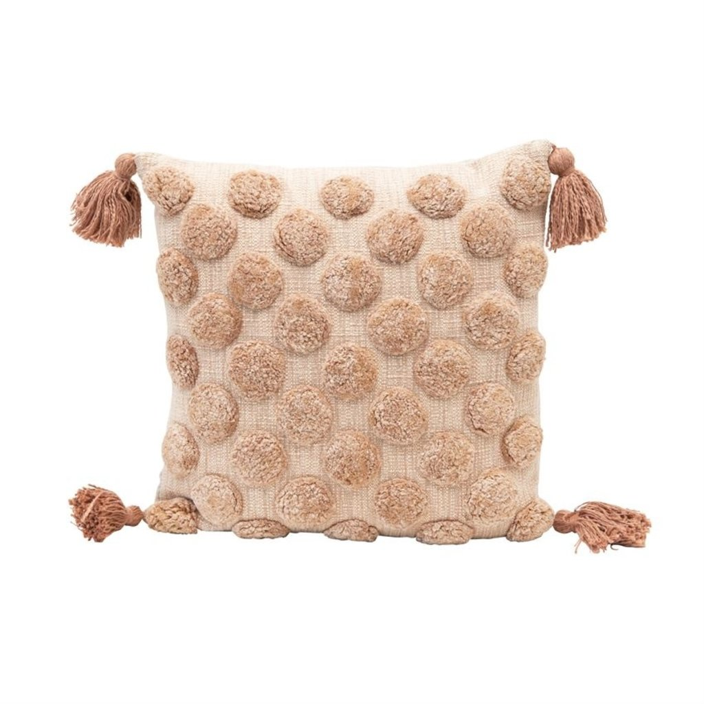 Cotton Tufted Dot Pillow with Tassels