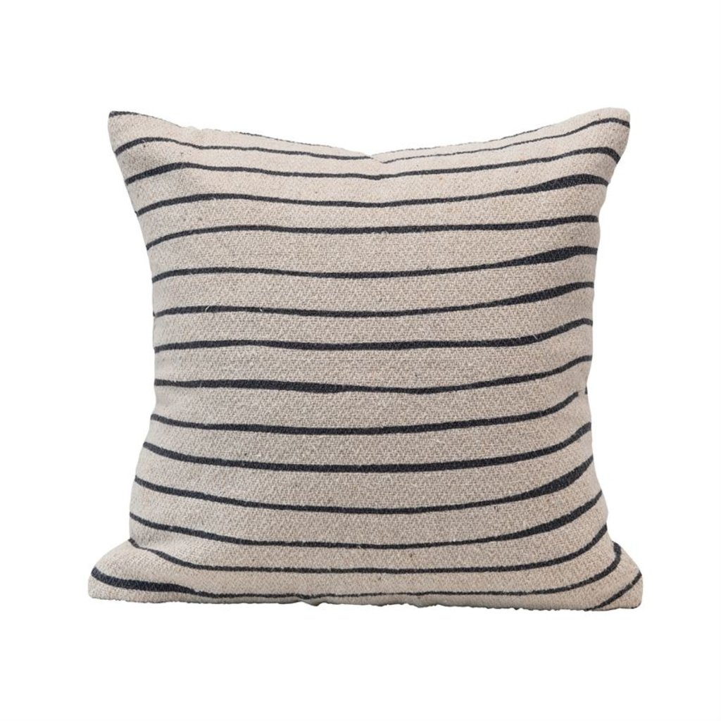 Recycled Cotton Blend Pillow with Stripes, Black & Cream Color