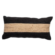 Woven Cotton & Jute Blend Lumbar Pillow with Stripe, Natural & Black