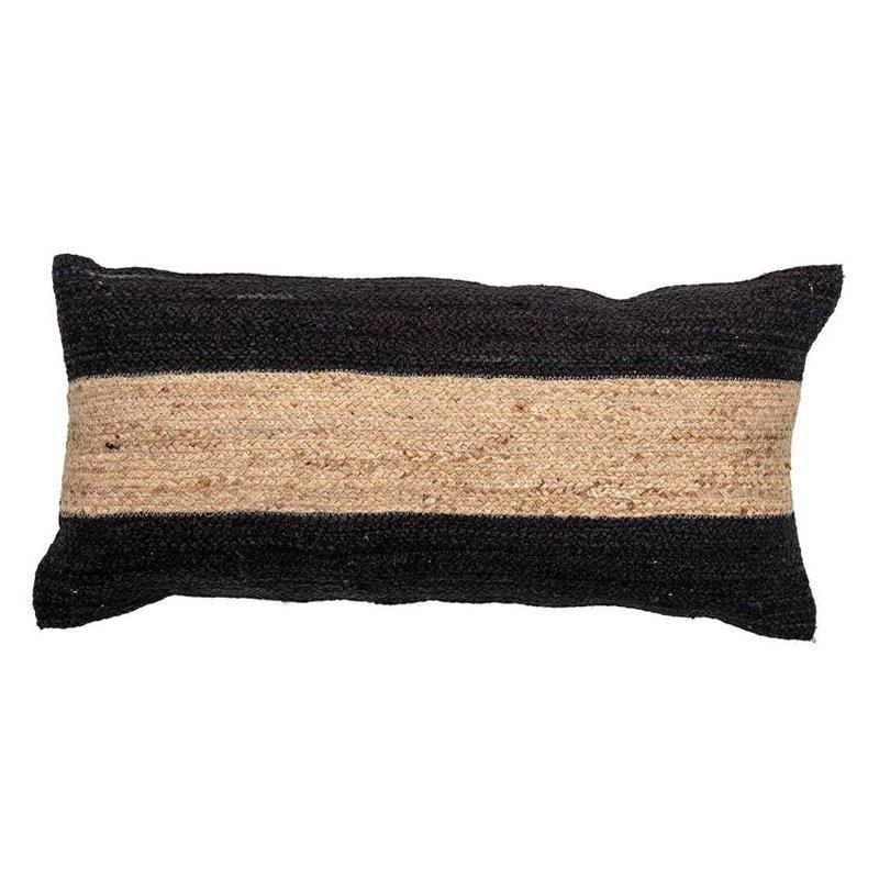 Woven Cotton & Jute Blend Lumbar Pillow with Stripe, Natural & Black