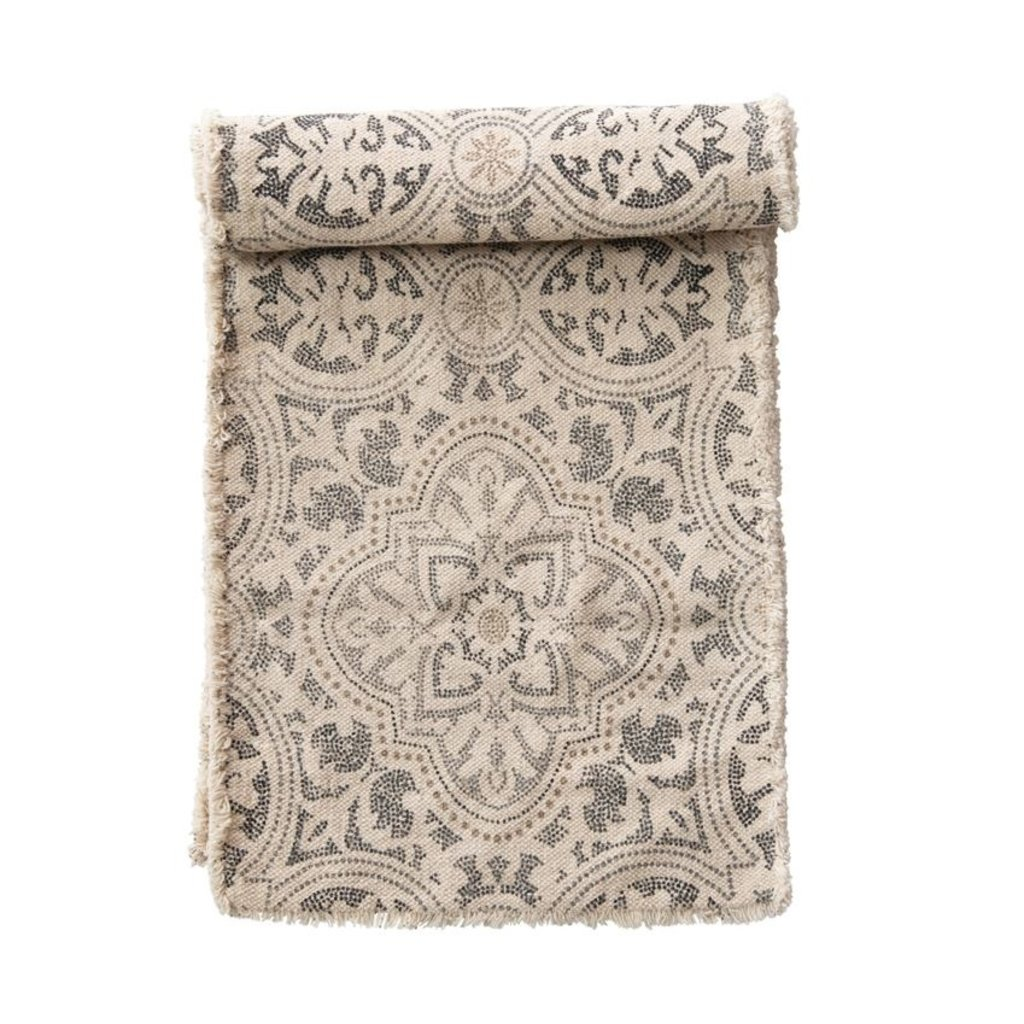 Cotton Printed Table Runner with Frayed Edge
