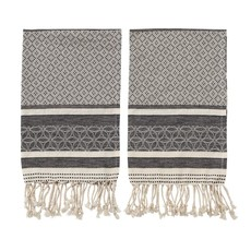 Woven Cotton Tea Towels with Tassels, Black & Cream Color, Set of 2