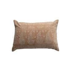 Cotton Velvet Embroidered Lumbar Pillow