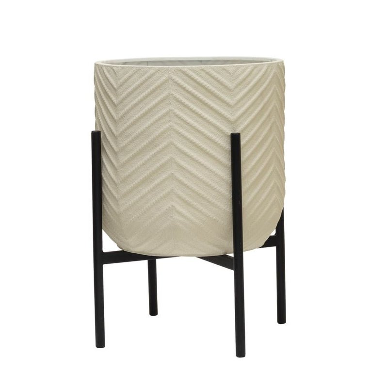 Matte White Metal Planter w/ Chevron Pattern & Stand