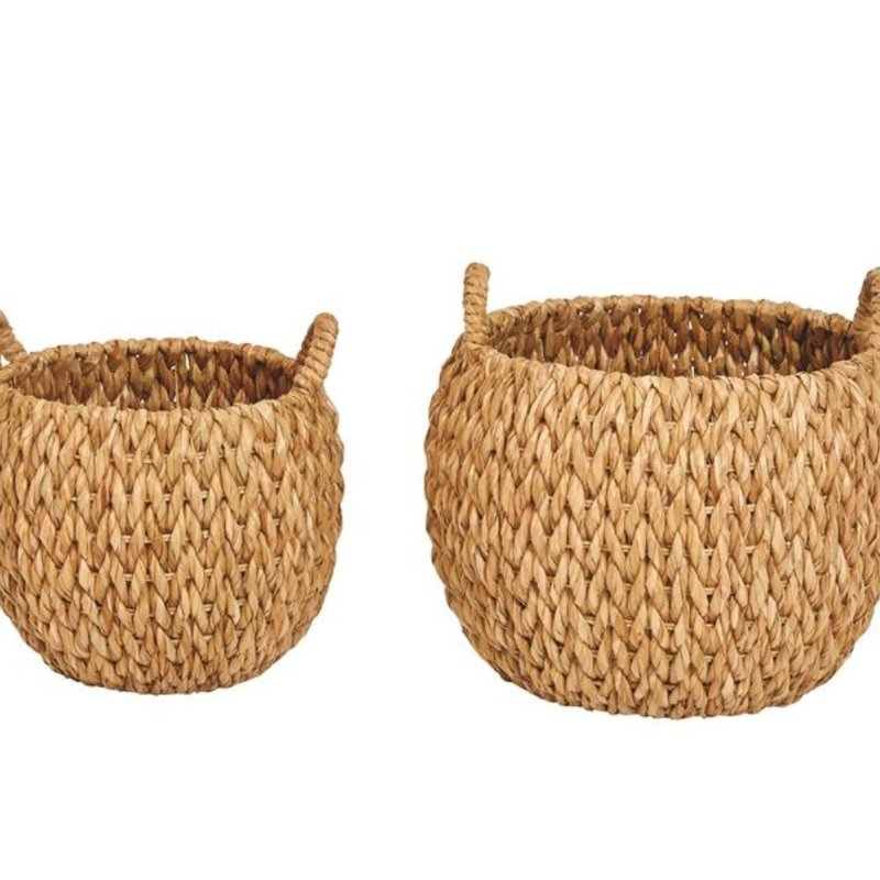 Woven Water Hyacinth Baskets w/ Handles